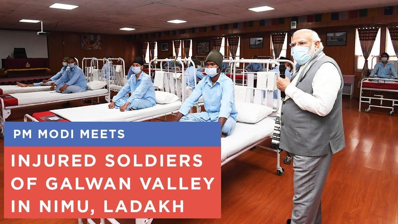 PM Modi meets injured soldiers of Galwan valley in Nimu, Ladakh