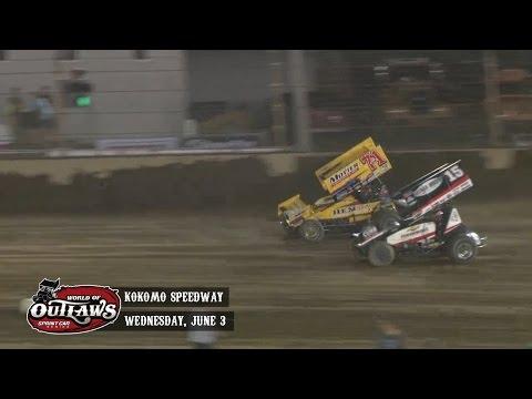 Highlights: World of Outlaws Sprint Cars Kokomo Speedway June 3rd, 2015