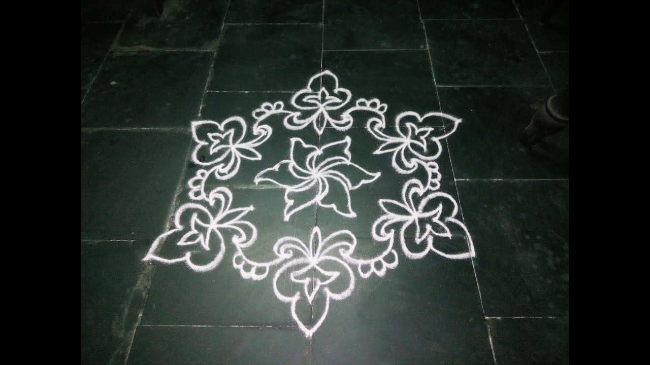 Simple dotted kolam with 7 1 dots youtube for Dots design apartment 8