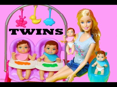 Barbie TWIN Babysitter Color Change Boy Girl Toy Review