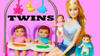 Barbie Baby TWIN Babysitter Babysitting Color Change Boy Girl Feeding Babies Barbie Doll Video