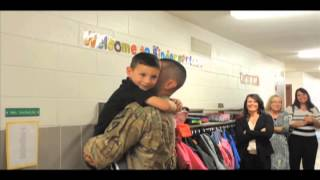 Soldier surprises son at Margaretta Elementary