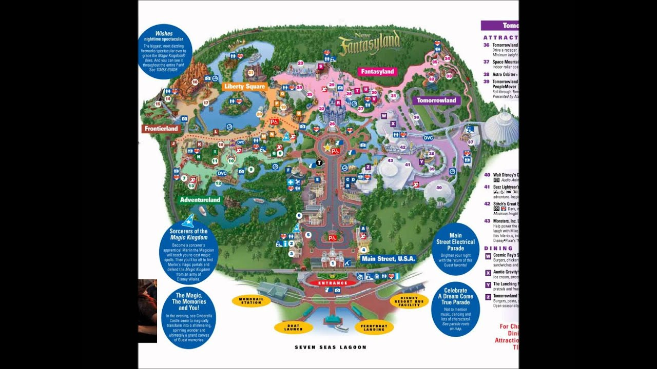 Magic Kingdom Disney World Interactive map - YouTube