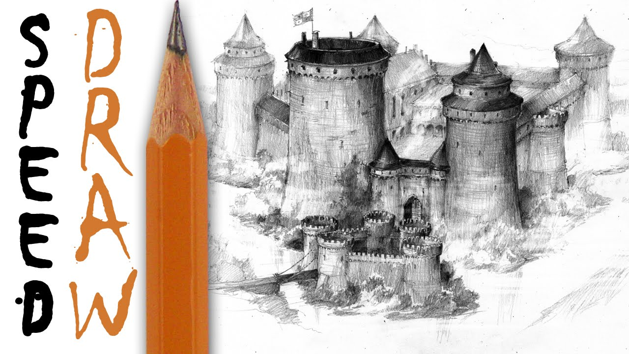 How to draw a castle - Speed Drawing - YouTube