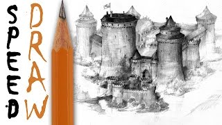 How to draw a castle - Speed Drawing