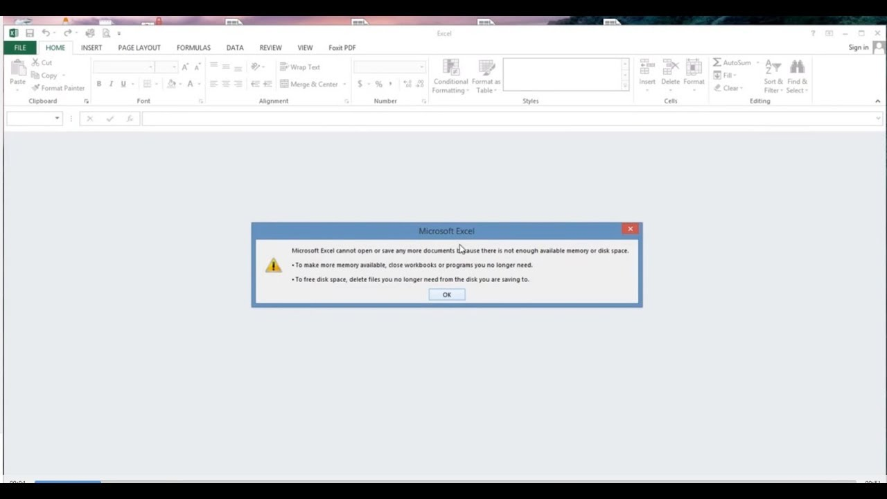 Solve Microsoft Excel Cannot Open Or Save Any More Document Because There  Is Not Enough Memory