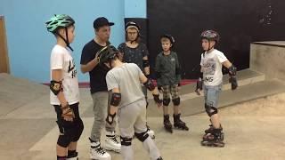 Уроки по экстремальному катанию на роликах в скейтпарке СПОТ. Школа Роллер-Омск. Агрессив.