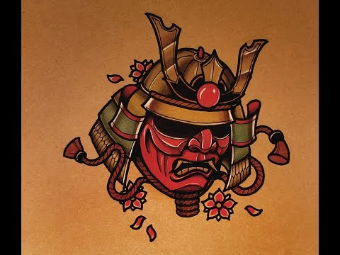How to Draw a Samurai Mask Tattoo Style