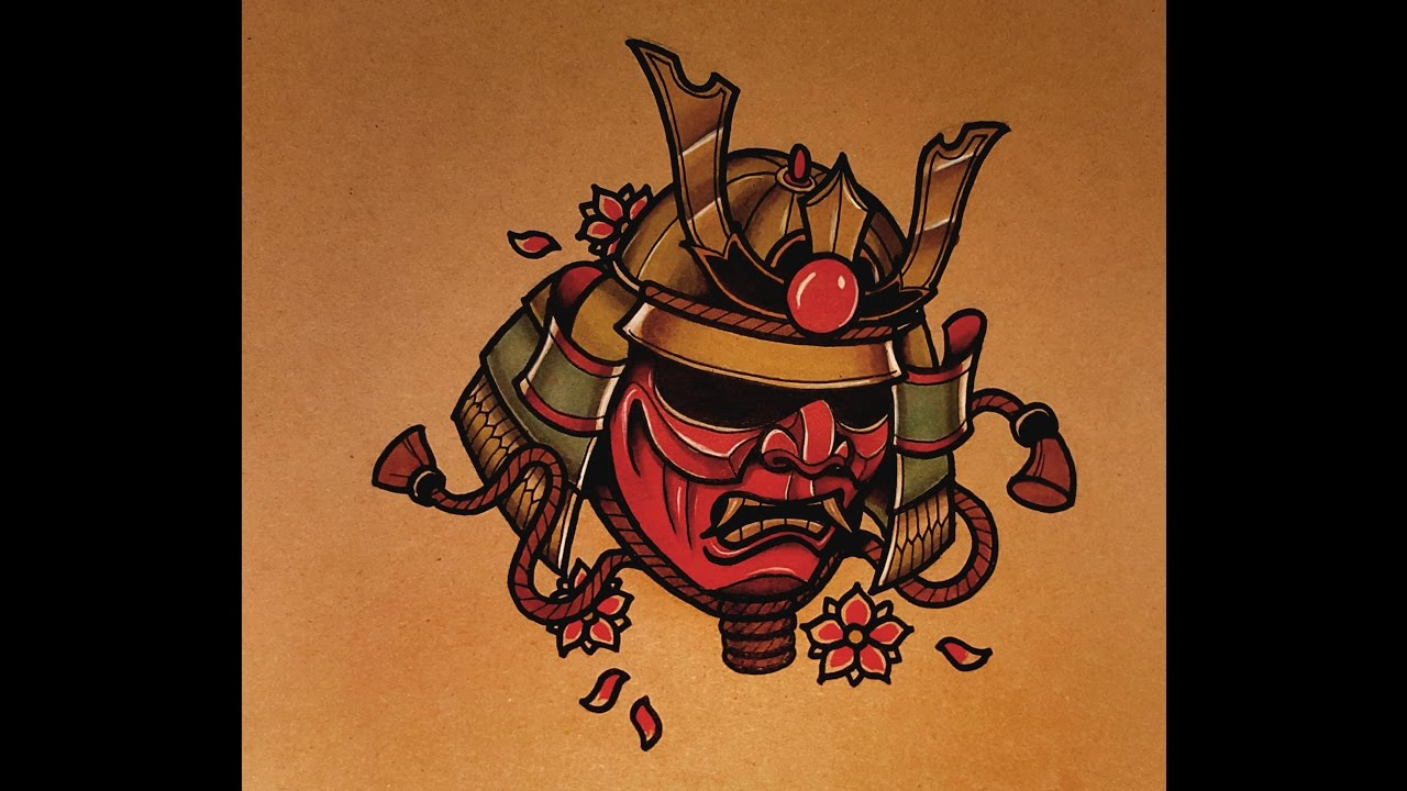 How to Draw a Samurai Mask Tattoo Style - YouTube
