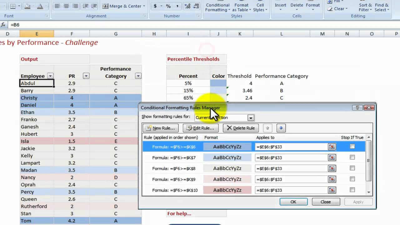 How to use Excel to highlight Employee Performance Rating - YouTube