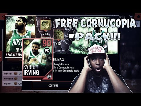 NEW 90 OVR KYRIE IRVING!!! OPENING A FREE CORNUCOPIA PACK IN NBA LIVE MOBILE 18