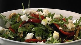 Salad Of Rocket With Capsicum Eggplant & Goats Cheese -theitaliancookingclass.com