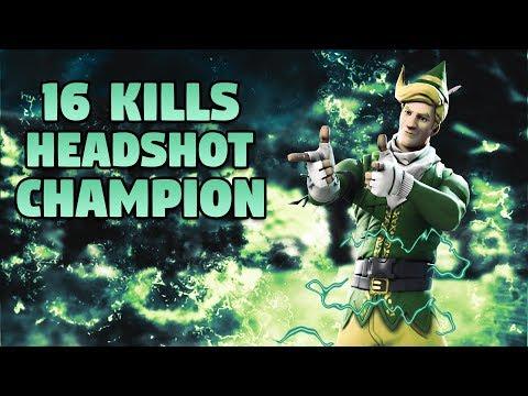 16 Kills - Headshot Champion - Fortnite Battle Royale Gameplay