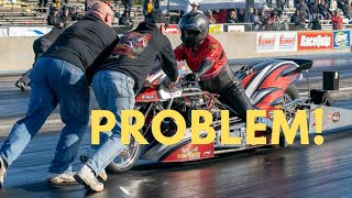 ABNORMAL High Idle Fought Off by Top Fuel Motorcycle Racer in High Stakes International Race