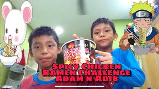 Spicy ramen noodle chicken flavour Adam and Adib challenge