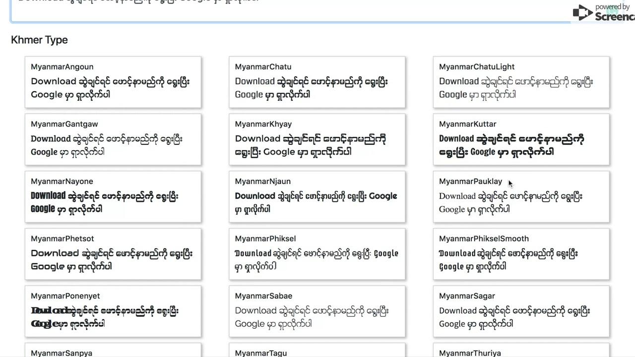 Myanmar Unicode Fonts Preview