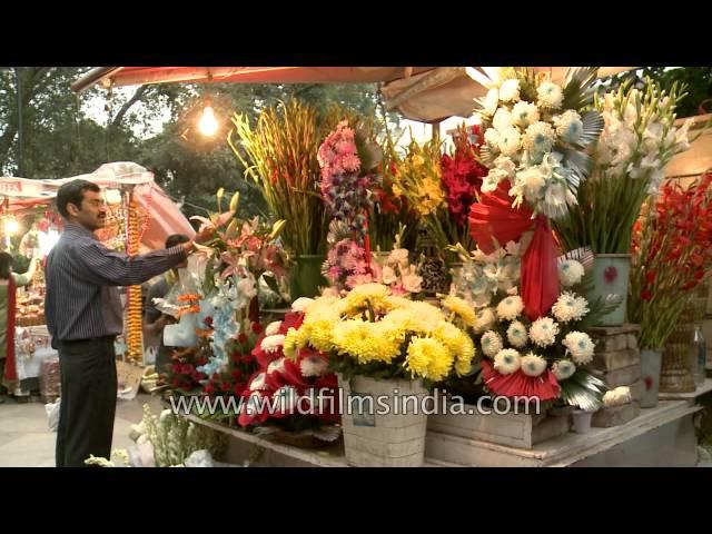 Diwali flower bouquet sales at Green Park Market, Delhi