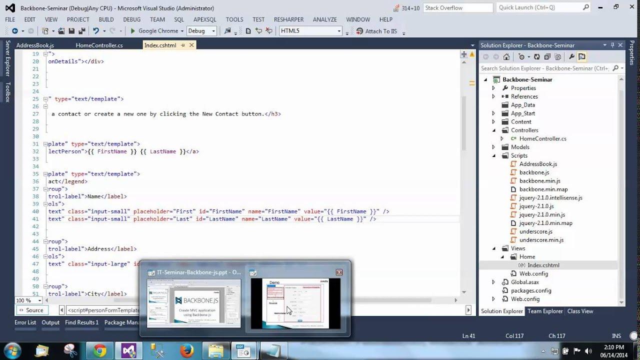 seminar on creating mvc application with backbone js youtube