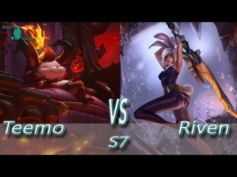 League of Legends - Devil Teemo vs Riven - S7 Ranked Gamepla