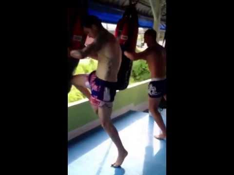 Training knees at yudtajak muay thai gym phuket, thailand