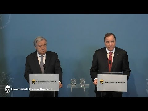 António Guterres (UN Secretary-General) & Stefan Löfven (Sweden) - Press Conference (23 April 2018)
