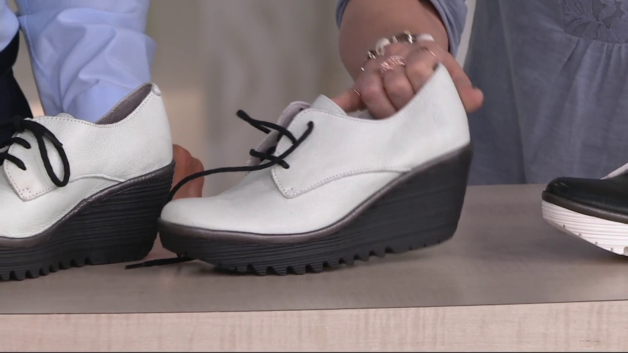 5758a2d8dec7f FLY London Leather Lace-up Shoes - Yaua on QVC - YouTube