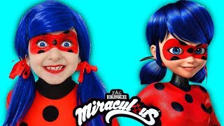 Kids Makeup Miraculous Ladybug Cosplay | Pretend Play with Doll and Magic Transform