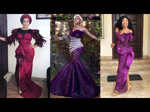 2019 Latest Stylish and Trending Velvet Lace Aso Ebi Styles: Classic Catalogue for Ladies.