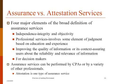 Assurance vs  Attestation