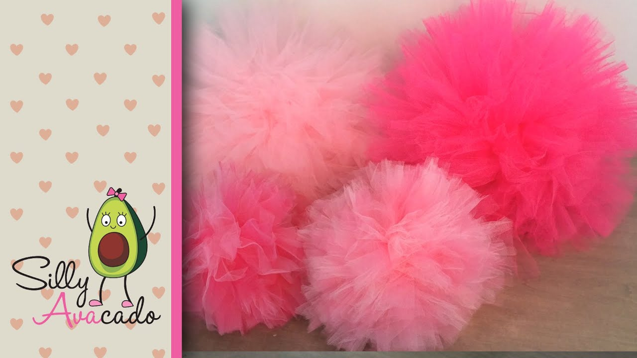 how to make tulle pom poms  last longer than tissue paper pom poms  easy  u0026 fast diy puff balls