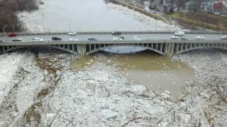 Aerial Drone Footage of Major Flooding Brantford Ontario 02/21/18