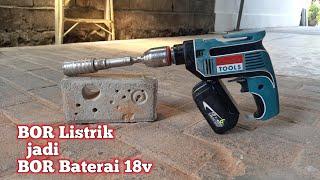 test CORDLESS DRILL Modification. listrik ke Baterai 18volt