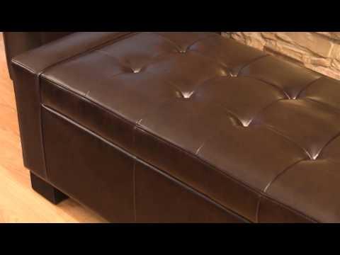 Ravello Bonded Leather Storage Ottoman - Ravello Bonded Leather Storage Ottoman - YouTube