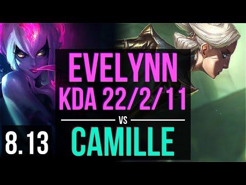 EVELYNN vs CAMILLE (JUNGLE) ~ KDA 22/2/11, Legendary ~ Korea Challenger ~ Patch 8.13