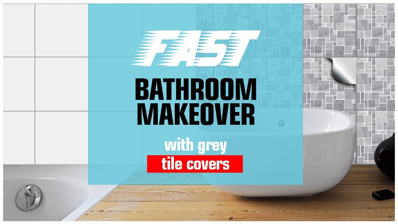 Bathroom Tile Cover Up Stickers Grey
