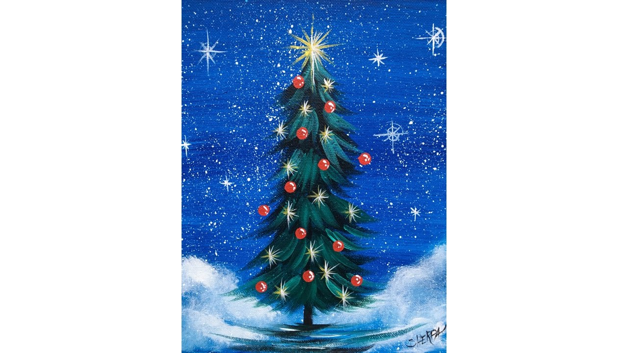 Simple Christmas TREE Step By Acrylic Painting On Canvas For Beginners