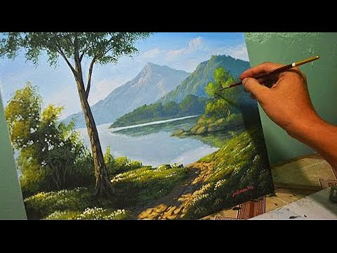 Acrylic Landscape Painting Lesson - Morning in Lake by JmLis