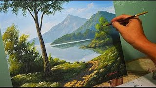 Acrylic Landscape Painting Lesson - Morning in Lake by JmLisondra