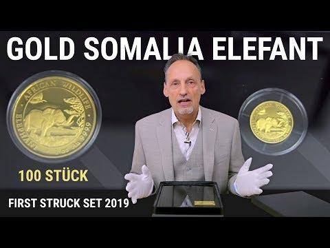 GOLD SOMALIA ELEFANT - FIRST STRUCK SET 2019 - 100 STÜCK