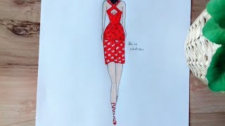 How To Draw Red Dress