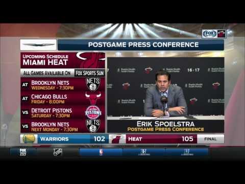 Heat coach Erik Spoelstra reacts after win over Warriors