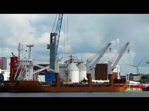cargo 3 crane seaship ERASMUSGRACHT PDYV IMO 9081368 Emden Kranschiff
