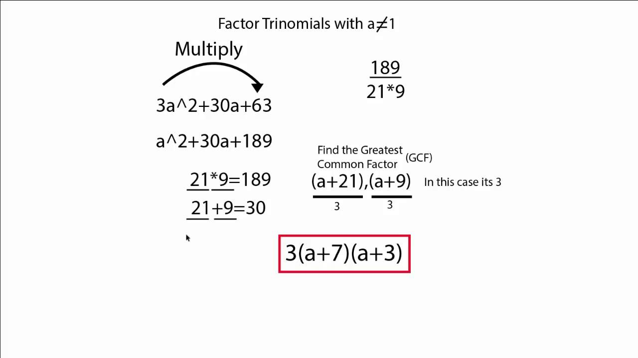 worksheet Factoring Trinomials A 1 factoring trinomials with a does not equal 1 youtube 1