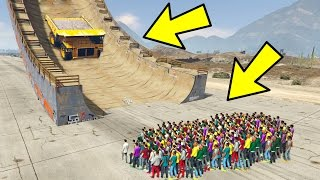 would 100 people stop a car crash down a ramp in gta 5