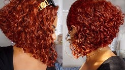 ANGLED ORANGE COPPER BOB! HOW TO BLEACH/TONE/WATER COLOR & CUT DEEP CURLY HAIR FROM NADULA HAIR