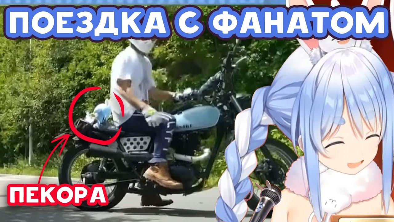 [RU SUB] Пекора смотрит, как Фанат катает куклу Пекоры на мотоцикле