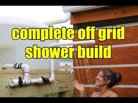 OFF GRID OUTDOOR SHOWER BUILD/ NO PUMPS NO POWER NO PROBLEM!