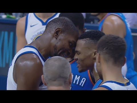 Kevin Durant vs Russell Westbrook Heated Exchanges! Thunder Dominate Warriors! 2017-18 Season