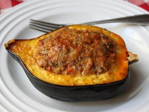 Sausage & Rice Stuffed Acorn Squash Recipe - Squash Stuffed With Lamb Sausage & Rice