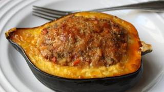 Sausage & Rice Stuffed Acorn Squash Recipe - Squash Stuffed With Lamb Sausage & Rice